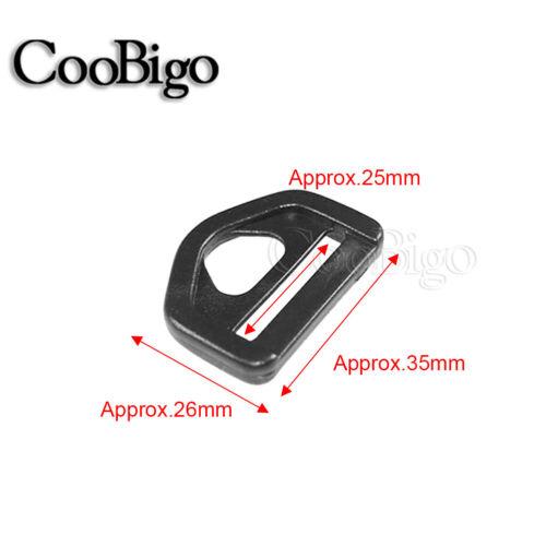 """12x Plastic D ring Loop Adjust Slider Buckle Bag strap Parts 1/"""" ~ 1-1//2/"""" Webbing"""
