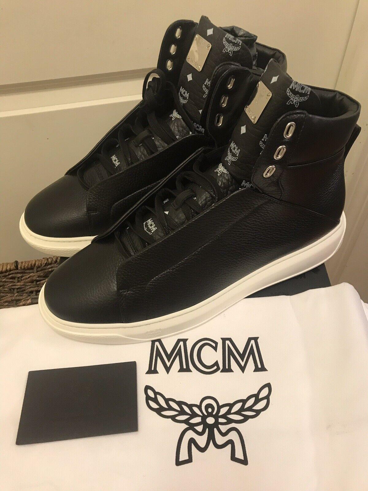 NEW MCM Men's nero Visetos-Trim Leather High-Top scarpe da ginnastica Sz 13 US 46 EUR