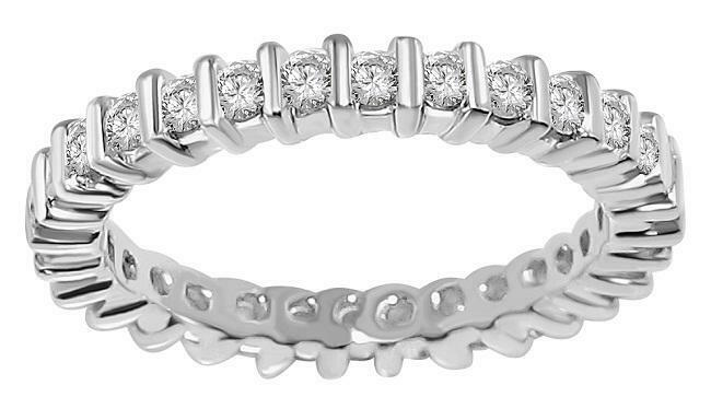 Eternity Wedding Ring SI1 G 0.90 Ct Round Diamond 14K White Yellow pink gold