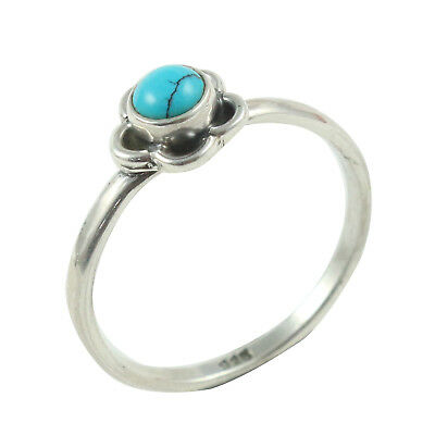 Gemstone Aspiring Solid 925 Sterling Silver Natural Turquoise Handmade Jewelry Ring Size 6 In-1349 Driving A Roaring Trade