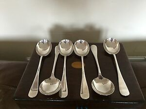 "LOVELY SET OF 6 SILVER PLATED SOUP SPOONS 7.75"" LONG (A & D) (SPSS 290)"