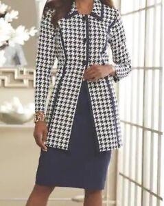 Ashro Navy Quinn Houndstooth Duster Skirt Suit Formal Church Dress 12 14 20W 24W
