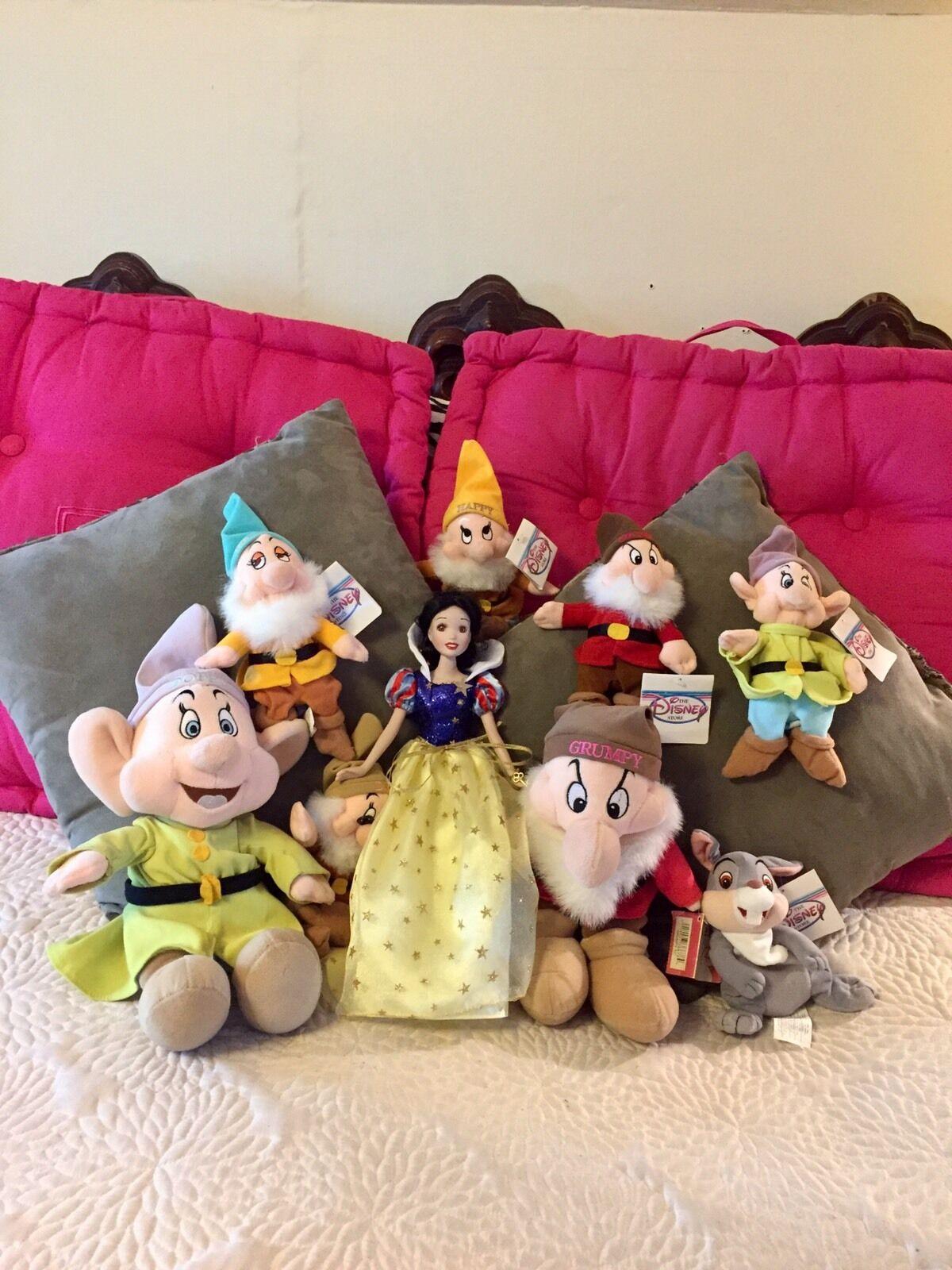 Lot 9 Snow White Porcelain Brass Key Doll NWT Stuffed Mini Dwarfs 2 Big Thumper