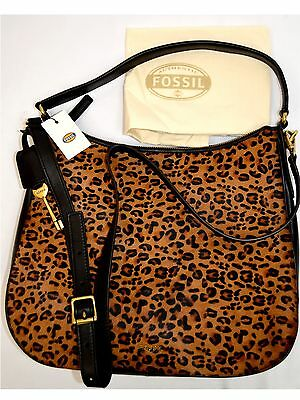 $248 NWT Fossil ZB5477 Memoir Hobo Magazine Cheetah Genuine Leather  Cross Body