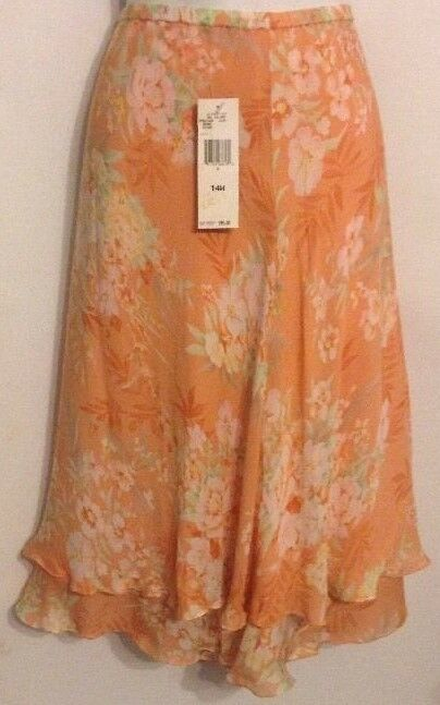 Jones New York Signature Size 14W Silk Floral Double Ruffle A-Line Skirt NWT