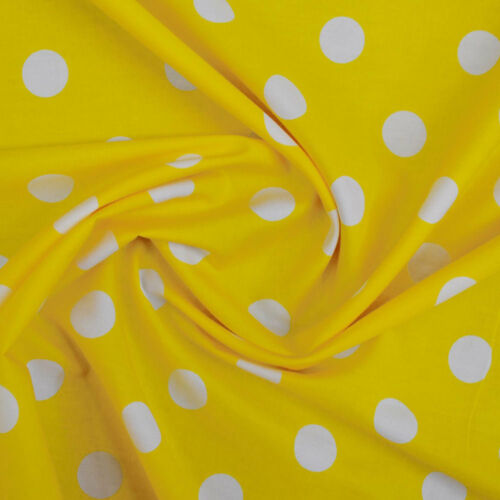 CP0076 White on Yellow Large Polka Dot Fabric 22mm