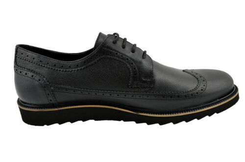 $230 MASQLEN Black WING TIP Lace Up Oxfords Leather Dress Mens Shoes