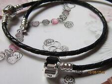 Auth PANDORA Single Black Leather Bracelet w/ Silver PANDORA Clasp 590705CBK-S2