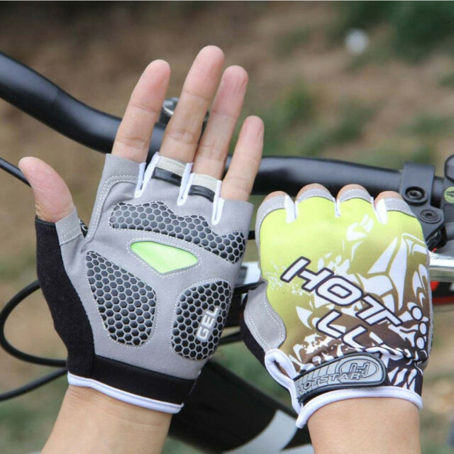 Hot MTB Cycling Bike Silicone Gel Pad Gloves Shockproof Half Finger Short Charm