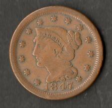 USA Large Size Copper One Cent 1847 NVF