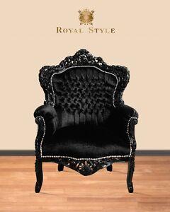barockstuhl schwarz stoff antik sessel designlounge sessel kamin stuhl ebay. Black Bedroom Furniture Sets. Home Design Ideas