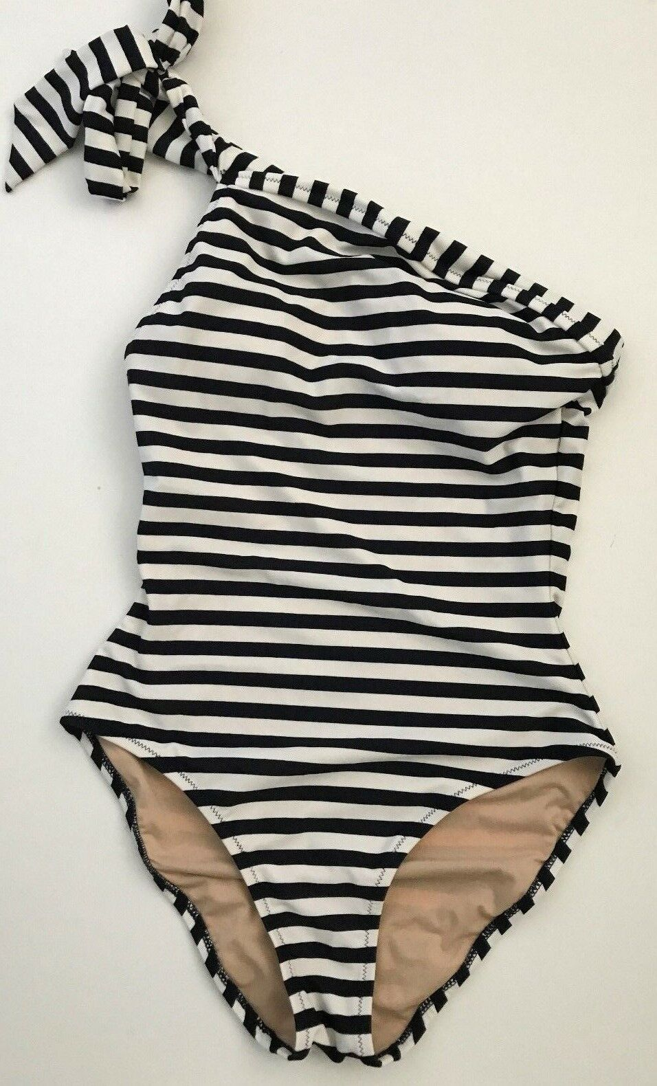 JCrew One-Shoulder One-Piece Swimsuit Classic Stripe 0 XS Navy Ivory F0921  118