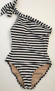 322b8391563f7 JCrew One-Shoulder One-Piece Swimsuit Classic Stripe 0 XS Navy Ivory ...