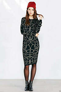 Numph-Evelyn-Wos-Dress-Sweater-Black-with-Gold-110-Size-Small-Bodycon-New