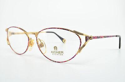 Aigner Occhiali Mod. Ea75 Vintage Eye Frame Lunettes Occhiali Gafas Oro Viola Nos-mostra Il Titolo Originale Lussuoso Nel Design