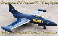 Grumman F9f Panther 72 Giant Scale Rc Airplane Printed Plans & Templates