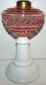Antique-Kerosene-or-Oil-Pedestal-Stand-Lamp-Pink-Glass-EAPG-Font-Milk-White-Stem