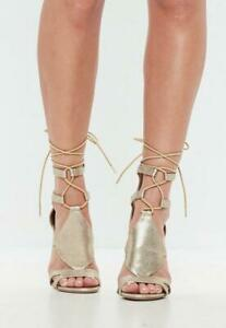 Gladiador-Sandalia-tacones-altos-Missguided-champan-UK-5-EUR-38-Ex-Display