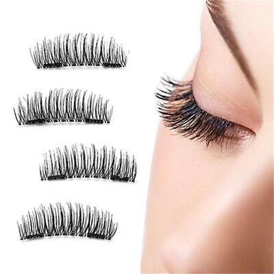 Fashion 4pcs Double Magnetic False Eyelashes 3D Handmade Reusable Eye Lashes Set