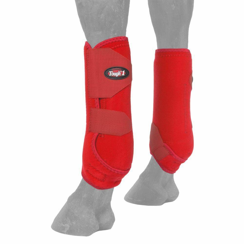 RED MEDIUM  FRONT LEG TOUGH1 MEDICINE EXTREME VENTED HORSE SPORT BOOTS U--102  best price