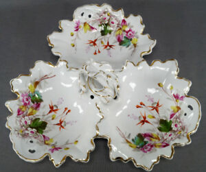 Tielsch-Hand-Painted-Pink-White-Red-Floral-Gold-Large-Divided-Serving-Dish-1870