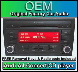 Audi-A4-CD-MP3-Player-Audi-Concert-Estereo-De-Coche-Unidad-Principal-con-codigo-de-radio-Teclas