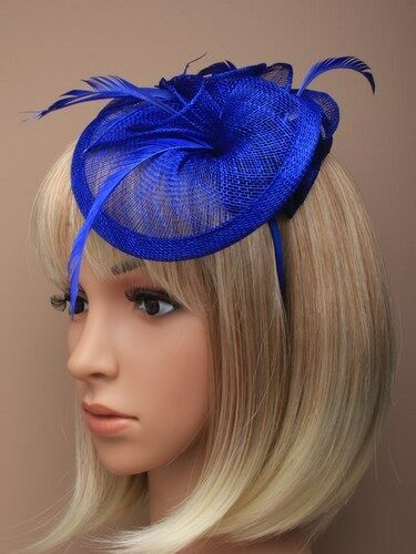 Large Royal Blue Headband Aliceband Hat Fascinator Weddings Ladies Day Ascot