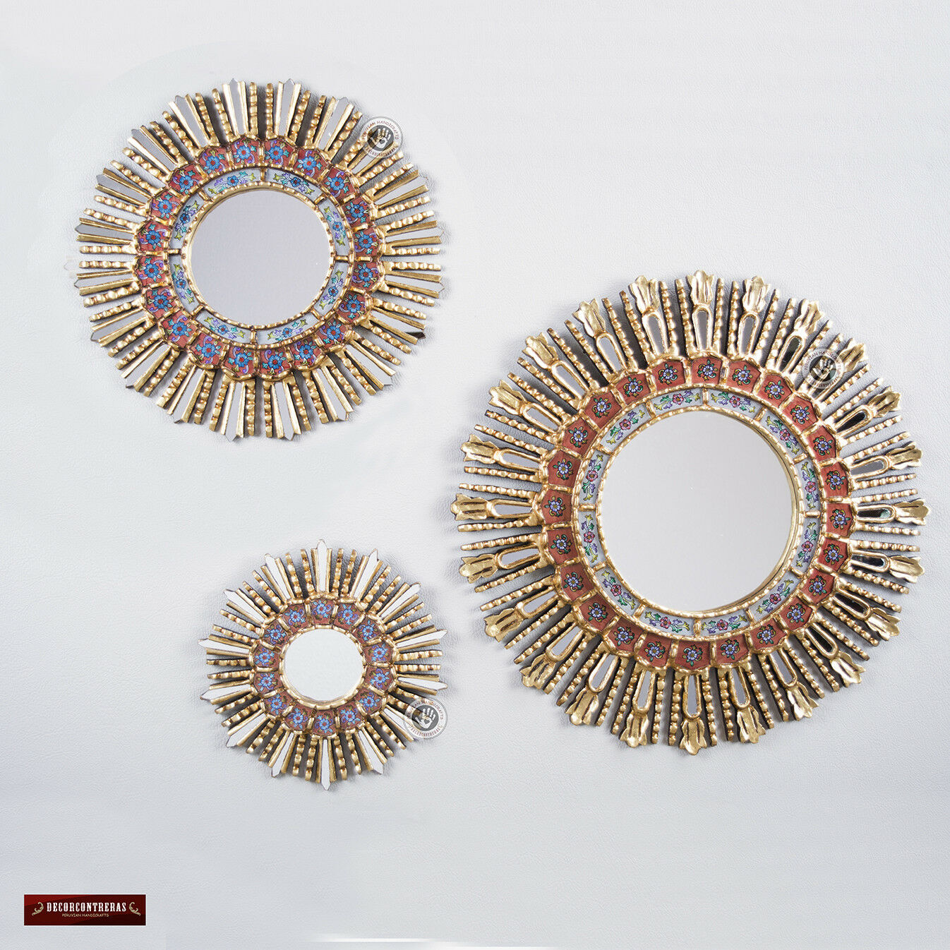 Sunburst rot Wall Mirrors set (3 Pieces) - Peruvian Round Mirror for wall decor