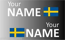 1 Pair Handed Swedish Rally Car Name decal sticker graphics  Sweden flag