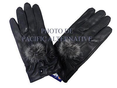 1 paire de Gants noir en cuir pour FEMME fille taille S fourré hiver gloves NEUF