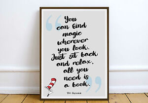 Dr Seuss Quote Art Print Wall Art Poster Print Literary Quotes Kids Print Ebay