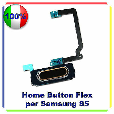 RICAMBIO HOME BUTTON FLEX CABLE PULSANTE TASTO NERO per Samsung Galaxy S5 G900F