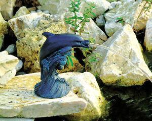 Teichfigur-Wasserspeier-Gartenfigur-Teich-Gartendeko-Delfin-Dekoration-Garten