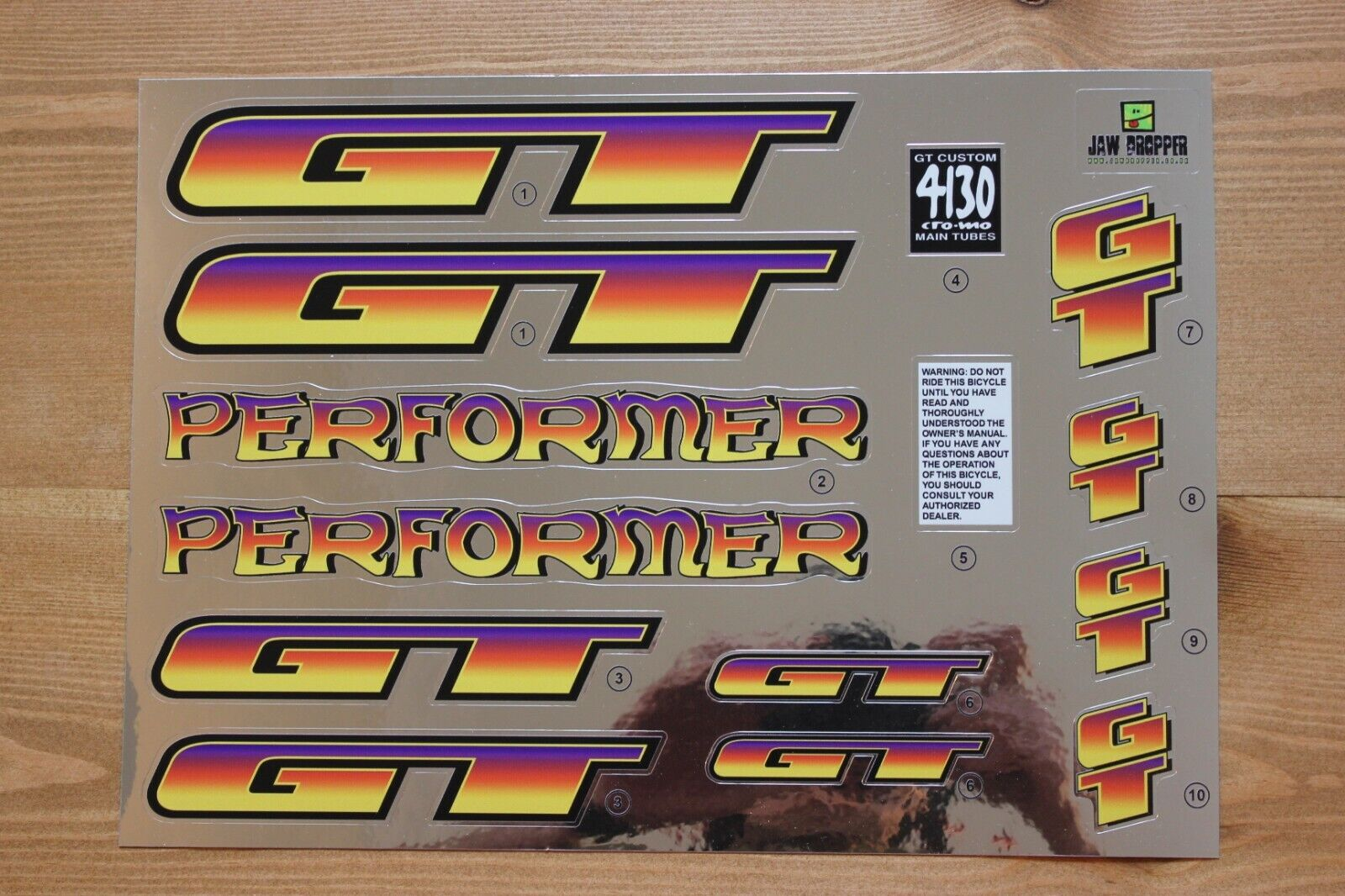 Reproduction 1996 GT Performer Bmx Decal Set-Cromo del forro
