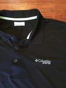 5b4ac728556 Columbia PFG Men's Size Medium M Fishing Polo Shirt Black Omni-Shade ...