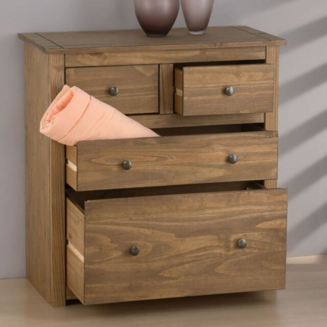 Santiago Distressed Solid Pine Wood Chest Of Drawers 4 Drawer Bedroom Storage For Online Ebay