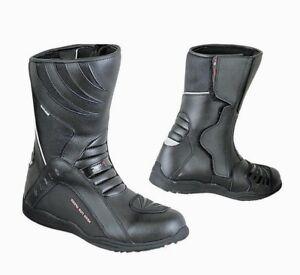 Stivali-Stivaletti-Moto-Impermeabile-Pelle-Turismo-Alta-Visibilita-039-WaterProof
