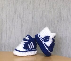 HANDMADE CROCHET BABY FIRST SHOES BOOTIES TRAINERS WOOL CASUAL SHOES SLIPPERS