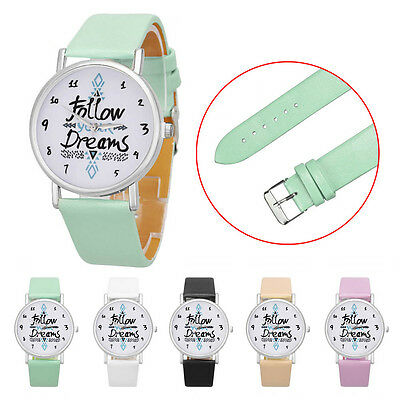 Follow Dreams Words Pattern Leather Quartz Analog Women's Sports Casual Watch