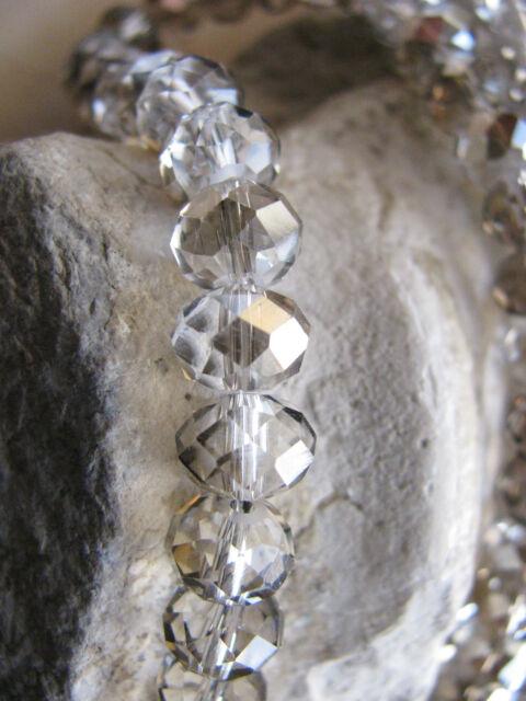 10 Glasschliff Perlen, grau, feuerbedampft, 7,5x6mm, Glasperlen, Schmuck basteln