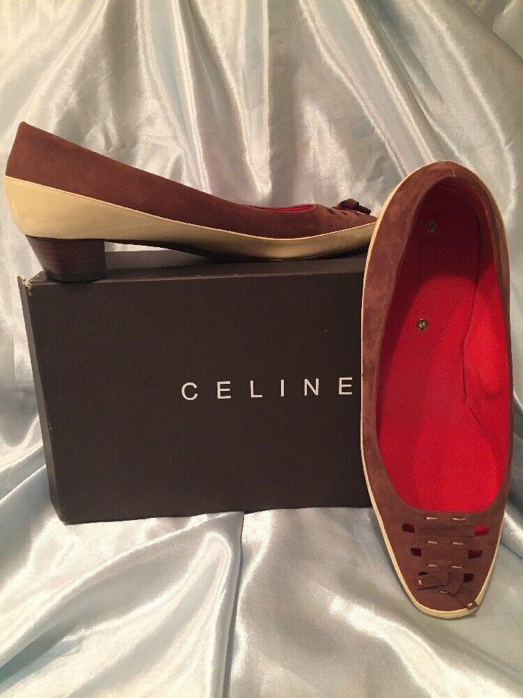 Celine Brown Suede & Yellow Patent Women's 1  heel Pump shoes EU 40 - US 9.5