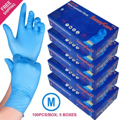 500 //5boxes Blue Nitrile Medical Exam Gloves Powder Free --M Non Vinyl Latex
