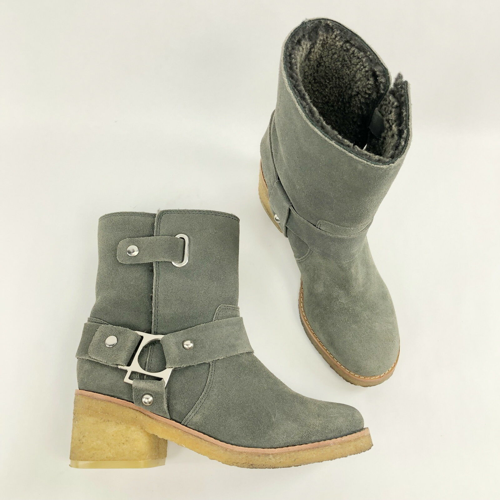 acquisti online Sigerson Morisson Donna  stivali grigio Shearling Leather Leather Leather Ankle Chunky avvioies - 6  negozio online outlet