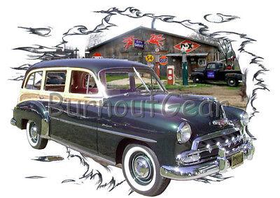 1957 Blue Chevy Bel Air 4 door Custom Hot Rod USAT T-Shirt 57 Muscle Car Tee/'s