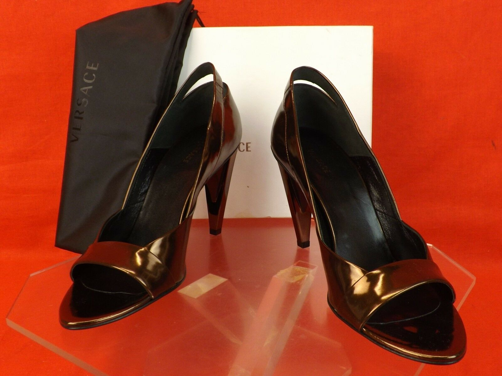 NIB VERSACE ESPRESSO PATENT LEATHER OPEN TOE V V V SCULPTUrot HEEL PUMPS 39  735 cf77c3