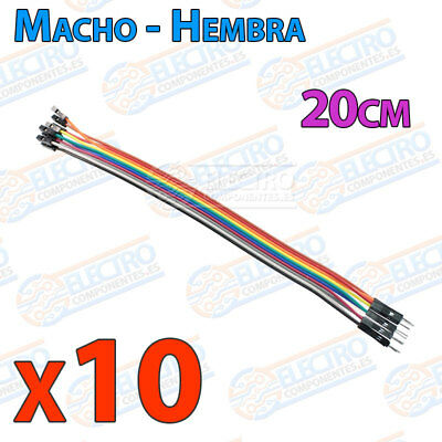 40x Cables 20cm Macho Hembra jumper dupont 2,54mm arduino protoboard cable