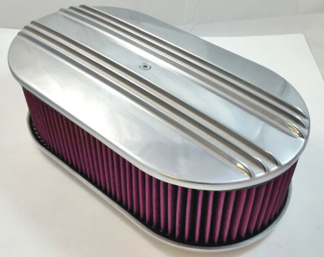 "15"" x 4"" Oval Polished Aluminum Finned Air Cleaner W/ Washable Filter 4 Brl V8"