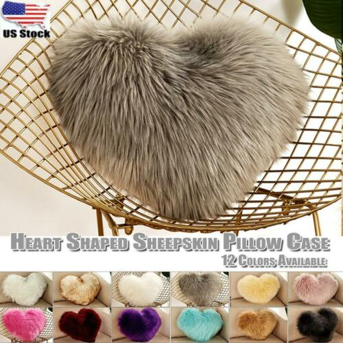Home Valentine's Day Gift Fur  Cover  Cushion  decor Pillow  Heart  Sheepskin