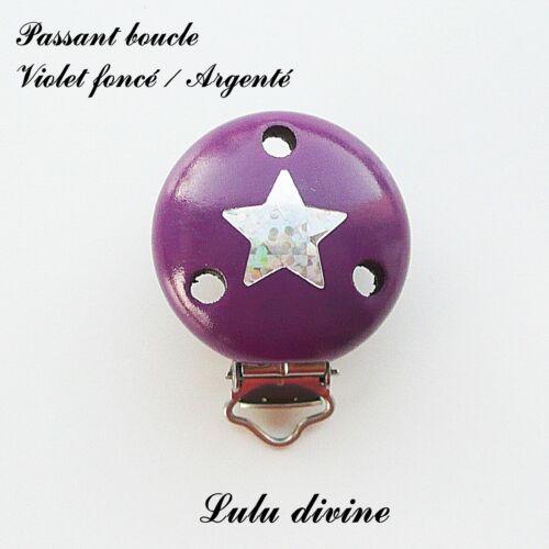 Pince // Clip en bois passant boucle attache tétine Violet fo : Etoile Argenté