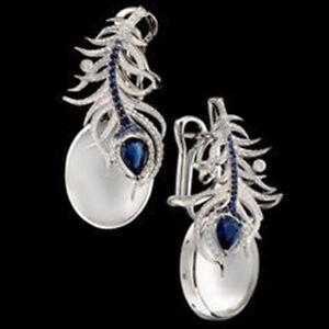 925-Silver-Moonstone-amp-Blue-Sapphire-Women-Prom-Jewelry-Gift-Ear-Dangle-Earrings